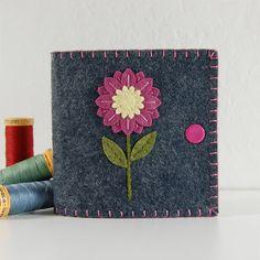 Sewing Needle Book / Needle Case - Mulberry & Yellow Flower on Grey Wool Felt $20.00