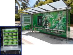 Mobiliario Urbano Espectacular | SP Integrales Ambient marketing sobre parada de autobús para 7UP