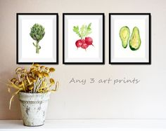 Any 3 art prints, pick your three art prints, Watercolor prints, mine Art collection, kitchen art, nursery decor, wild life, botanical print