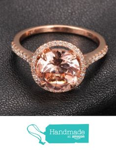 Round Morganite Engagement Ring Pave Diamond Wedding 14K Rose Gold 8mm from the Lord of Gem Rings https://www.amazon.com/dp/B01H2DTXSC/ref=hnd_sw_r_pi_dp_y.iyxbVC1S638 #handmadeatamazon