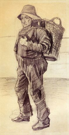 Fisherman with Basket on his Back, 1882 Vincent van Gogh