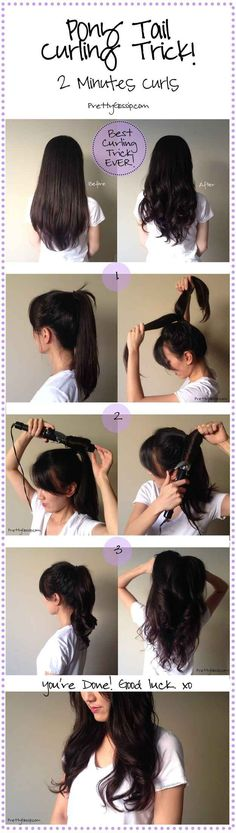 Curl your hair in, like, one minute by putting your hair into a ponytail and dividing and conquering two or three sections.