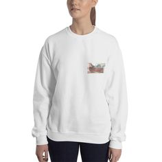 Map Graphic Sweatshirt Great Casual Fashion Look. A sturdy and warm sweatshirt bound to keep you warm in the colder months. A pre-shrunk, classic fit sweater that's made with air-jet spun yarn for a soft feel. Sweat Shirt, We Wear, How To Wear, Pulls, Rib Knit, Graphic Sweatshirt, Unisex, Sexy, Fitness