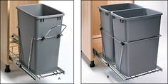 "Waste-Container Slide Kits - Hardware -The single unit fits any space a minimum of 21"" tall, 22-1/2"" deep and 10-1/2"" wide. The double unit requires the same height and depth, but 15"" or more in width. A hinged plastic lid is available separately. - $64.50 -lid $16.50"