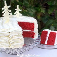 A moist and delicious classic Red Velvet Cake recipe from scratch! It has a wonderful texture and flavor, with the perfect amount of chocolate! | MyCakeSchool.com