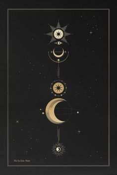 The La Lune Totem Occult Tattoo, Esoteric Tattoo, Witchcraft Tattoos, Gifts For Photographers, Moon Glyphs, Moon Symbols, Occult Symbols, Moon Star Tattoo, Full Moon Tattoos