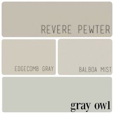 Revere Pewter for Living Room, Dining Room, and Kitchen. Edgecomb Gray for Master Bedroom & Master Bathroom. Balboa Mist for Girls' Bedroom and Hallway. Gray Owl for Austin's Bedroom and Kids' Bathroom.