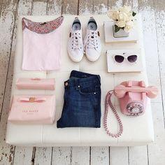 #flatlays #pastel #blush #pink #jeans #tedbaker