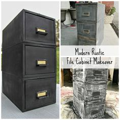 It's week three of the ORC, and today I am sharing my modern rustic file cabinet makeover and a vintage desk that I added to my son's bedroom makeover. Diy Cabinets, Diy Arts And Crafts, Home Crafts, Modern File Cabinet, Diy Home Repair, Cabinet Makeover, Cool Diy Projects, Furniture Makeover, Writing