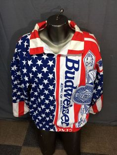 7198c4eb8 Vintage budweiser king of beers american flag oversize bomber party jacket  l-xl