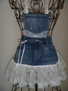 A little denim and lace number I cooked up in the studio yesterday.  Special order for a client.