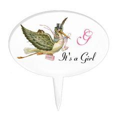 STORK BABY GIRL SHOWER MONOGRAM  ,white,pink Cake Topper Cake Picks, Stork, Girl Shower, Baby Shower Cakes, Cake Toppers, Monogram, Pink, Color, Cakes Baby Showers