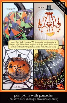 Move over jack-o-lantern! It's time to give your pumpkins a designer edge! From ribbon, to glitter, to bright acrylic paint, these artfully embellished project ideas are the perfect place to start.