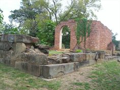 Alabama State Capitol Ruins in Tuscaloosa, Alabama. All that remains of Alabama's old capitol building that served the state government from 1826 to 1845.