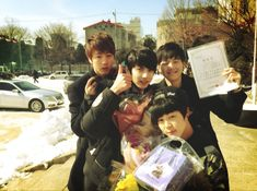 BTS Tweet - pre-debut -- Jin, Suga & Jimin attended Jungkook middle school graduation -- 130207