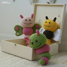 Bug rattles - Sweet butterfly, Friendly bee and Nosy caterpillar pattern by Mari-Liis Lille