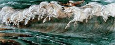 The Horses of Neptune by Walter Crane, cross stitch pattern