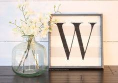Wood letter sign gray and white stripe by WahlToWallWordLove Grey And White, Gray, Wood Letters, Home Accessories, Glass Vase, Sign, Lettering, Unique Jewelry, Handmade Gifts