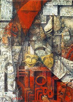 "Galleria scorrevole.                                         Sergio Cerchi, italian painter ( Firenze), ""Masks"", gouache."