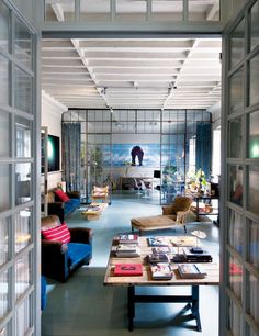 warehouse living - glass, steel and curtains for divisions