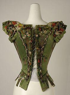 Rear view Bodice, 18th century, European Medium: silk, metal thread (c) The Metropolitan Museum of Art