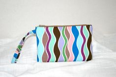 Wavy Ribbons Wristlet in Greens Blues Browns iPod by MeeMawsBags
