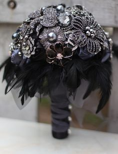 Aliexpress.com : Buy 8 inch custom bridal bouquet,Gothic style black feather brooch bouquet, black and white wedding bouquet gem from Reliable brooch wholesale suppliers on Brooch bouquets custom store | Alibaba Group