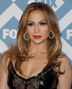 Jennifer Lopez - smokey eye and red lip - long highlighted hair @ the Fox All-Star Party  - January 2014