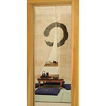 """Zen Circle Noren Curtain - The Zen circle or """"enso"""" is a symbol of the essential nature of the mind before thought and words."""