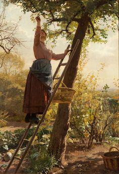 """Recogiendo peras"". ADAN, Louis Émile Apple Picture, Scribble Art, Retro Pictures, Cottage Art, Spanish Painters, Beautiful Fairies, Traditional Paintings, Russian Art, Beautiful Paintings"