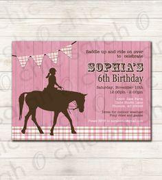 Horse Birthday Party Invitation PRINTABLE