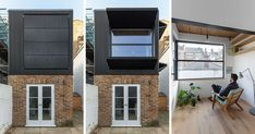Large Black Shutters Are A Prominent Feature Of This Home In London Photography by Peter Landers MATA Architects has completed a small first floor rear extension to a mid terrace Victorian nbsp hellip British Architecture, Modern Architecture, Black Shutters, Rear Extension, Bedroom With Ensuite, House Extensions, London Photography, Glass Texture, Guest Bedrooms