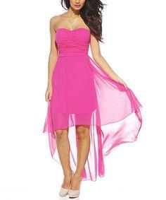Pink Chiffon Strapless Hi-Low Dress