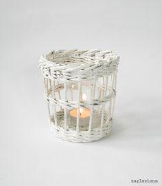 Biały lampion - zapleciona - Lampiony