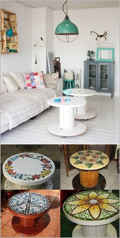 Wire Spools painted for tables -- Like this idea!