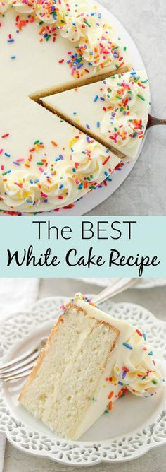 This is my favorite recipe for white cake! This cake is light, tender, moist and .- This is my favorite recipe for white cake! This cake is light, tender, moist and is doused with a delicious vanilla buttercream. Cake Recipes From Scratch, Best Cake Recipes, Sweet Recipes, Dessert Recipes, Frosting Recipes, Cake Frosting Recipe, Dense Cake Recipe, White Cake With Chocolate Frosting Recipe, Cake Recipes
