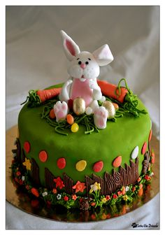 Easter cakes Cake by plusche Easter Cake Easy, Easter Bunny Cake, Easter Cupcakes, Easter Cookies, Easter Treats, Cupcake Cookies, Cake Original, Decoration Patisserie, Rabbit Cake