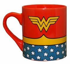 Amazon.com: Wonder Woman Uniform Costume Ceramic Coffee Mug 14 oz, $18.95
