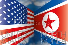 USA vs North Korea flags, vector illustration