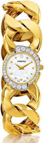 Verdura Yellow Gold Diamond-Bezel Mother-Of-Pearl Curb-Link Bracelet Watch