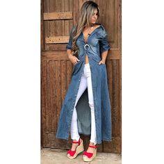 BOUTIQUE PUPPET (@puppet_20121) • Photos et vidéos Instagram Skirt Fashion, Boho Fashion, Fashion Outfits, Dress Over Jeans, Glam Dresses, Denim Coat, Long Tops, Streetwear Fashion, Casual Looks