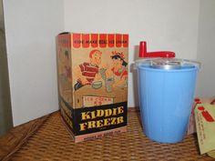 Vtg Ice Cream Maker Kiddie Freezer Children Processed Plastic Blue Box 50's