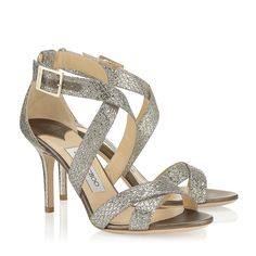 Champagne Glitter Fabric Sandals   Louise   Spring Summer 2014   JIMMY CHOO Shoes