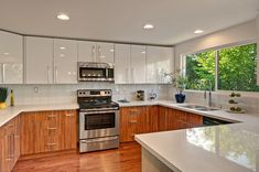 White Kitchen Cabinets with Wood Grain