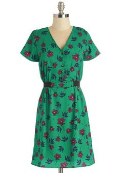Sugar Pie Honey Brunch Dress. You just cant help it - you love flirty, floral frocks like this fetching number by Yumi! #green #modcloth