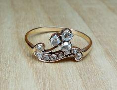 Vintage Antique .30ct Rose Cut Diamond 9k Rose Gold Unique Engagement Ring Victorian/ Edwardian 1800 Gothic Clover by DiamondAddiction on Etsy https://www.etsy.com/listing/242635385/vintage-antique-30ct-rose-cut-diamond-9k