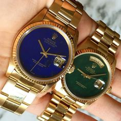 Rolex Datejust Lapis Lazuli Dial & Rolex Day Date Bloodstone Dial - I'd Prefer Lapis Lazuli Dial . Which one would you Prefer ? Via @a_shear by dapper.watches