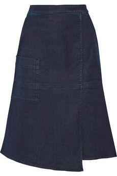 Tibi Wrap-effect stretch-denim skirt   NET-A-PORTER