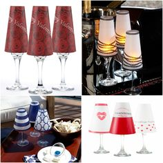 Turn your champagne and wine glasses into decorative lamps this Valentines Day . #lamaisoninteriordesign #Wineshades #champagneshades #Valentinesday #love #hearts #kisses #stringofpearls #ivegotacrushonyou