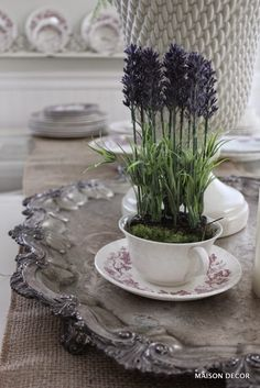 Maison Decor: use silver trays for transfer ware collections and floral plantings